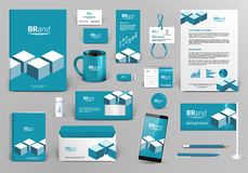 Blue branding design kit with bricks. Professional blue branding design kit with bricks for real estate/investment. Corporate identity template. Business Royalty Free Stock Images