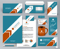 Blue branding design kit with red arrow Royalty Free Stock Images