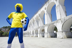 Blue Brazilian Football Player Holding Soccer Ball Rio Royalty Free Stock Photography