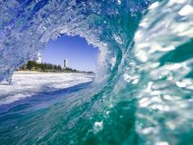 Blue breaking wave royalty free stock images