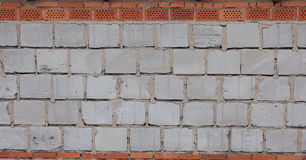 Blue breeze block and  brick wall Royalty Free Stock Photography