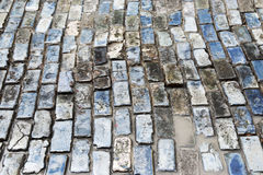 Blue brick road in Old San Juan Puerto Rico. The roads of Old San Juan are made of beautiful blue bricks stock image