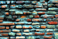 Blue Brick wall. Close up shot of a blue brick wall Stock Photos