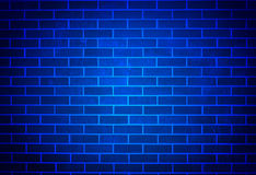 Blue Brick Wall with Soft Spotlight Royalty Free Stock Image