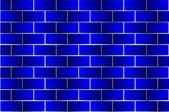 Blue bricks - vector pattern. Brick wall - blue background Stock Photo