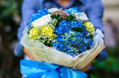Blue Bridal bouquet Royalty Free Stock Images