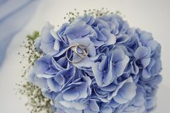 Free Blue Bridal Bouquet With Rings Wedding Royalty Free Stock Image - 168568306