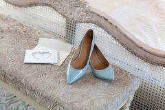 Blue bridesmaid shoes stock photography