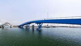Blue bridge. Wide-angle view, nobody Stock Image