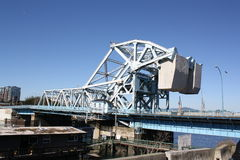 Blue Bridge. Johnson Street Bridge in Victoria BC. A superb piece of mechanical and electrical engineering about to become scrap Royalty Free Stock Photography