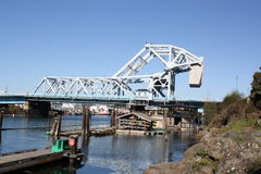 Blue Bridge 2. Johnson Street Bridge in Victoria BC. A superb piece of mechanical and electrical engineering about to become scrap Stock Photos