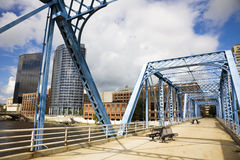 Blue bridge in Grand Rapids Royalty Free Stock Image