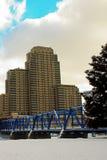 Blue Bridge in Grand Rapids. Blue Bridge over the grand river in Grand Rapids MI Stock Photos