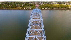 The Blue Bridge Intercity Columbia Crossing River Kennewick Pasco Washington stock footage