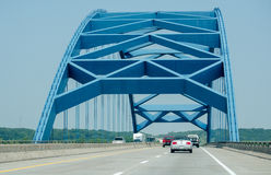 Blue bridge from Iowa to nebraska Stock Images