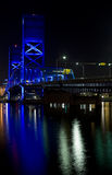 Blue bridge, Jacksonville FL. A nighttime view of a bridge lit with blue lights in Jacksonville, Florida Royalty Free Stock Photos