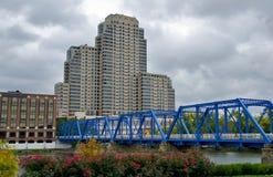 Blue bridge in Michigan Stock Images