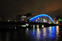 Blue bridge at night. Sumida River in Tokyo Bay stock images
