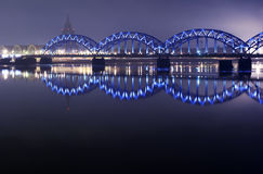 Blue bridge in the night royalty free stock photo