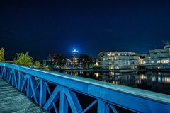 Blue bridge in Berlin Tegel royalty free stock photography