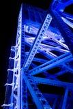 Blue Bridge Span. Main Street Bridge Span in Jacksonville, Florida at Night stock photo