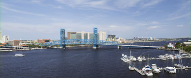 Blue bridge spanning the Saint John's River Stock Photos