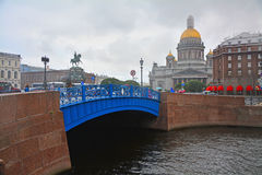 Blue Bridge and St. Isaac's Square in Saint Petersburg, Russia Stock Photo