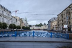 Blue Bridge, St Petersburg, Russia Royalty Free Stock Photo