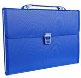 Blue briefcase isolated on white Royalty Free Stock Photo