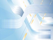 Blue and bright abstract background with lines and squares. Twists weave of ribbons and falling grain of rice. Vector.  royalty free illustration