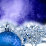 Blue Bright Christmas ornament out of focus blue blank Royalty Free Stock Photography