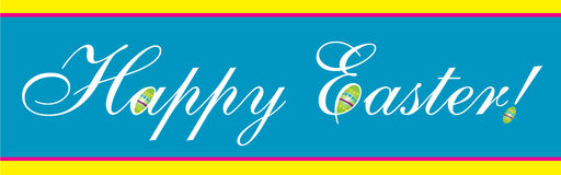 Blue bright colored Happy Easter Banner Stock Photo