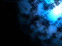 Blue bright computer generated star and blue grid. In dark background Stock Photo