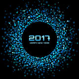 Blue bright confetti circle frame New Year 2017 background. Blue Bright New Year 2017 on black Background.  Glowing confetti circle new year frame. Blue shining Stock Photo