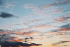 Blue bright evening morning sky with dramatic colorful dark red Stock Images