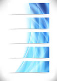 Blue bright flare wave web header footer set Royalty Free Stock Photography