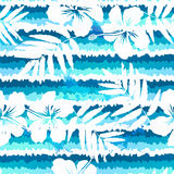 Blue bright flowers and painted stripes seamless Stock Photo