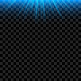 Blue bright Light Rays with realistic Glowing. Vector Ilumination abstract Effect Stock Illustration