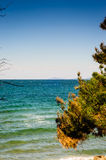 Blue Bright Sea View With Islands On The Horizon Royalty Free Stock Images