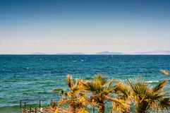 Blue Bright Sea View With Islands And Palm Trees Royalty Free Stock Photography
