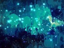 Blue bright sparkle brush strokes background. Stock Photo