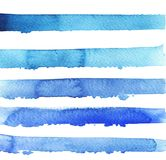Blue bright stripes texture. Watercolor illustration. Abstract bright blue stripes and backdrops on white background. Sea design. Hand drawn watercolor stock illustration