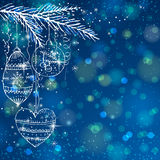 Blue brightness background with christmas balls,. Vector illustration Stock Photo