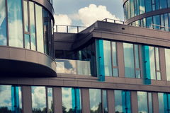 Blue brise soleil sun breakers on modern office glass building Royalty Free Stock Photos