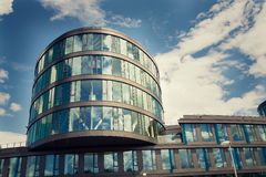 Blue brise soleil sun breakers on modern office glass building Stock Photo