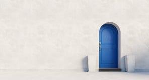 Blue british house door. / 3D render image Stock Image