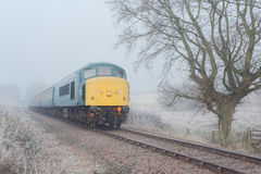 Blue British Rail Diesel in Frost and Mist. A class 45 diesel 45133 `peak` locomotive hauls mark two coaches in British Rail blue livery travels on a single line Royalty Free Stock Photo