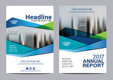 Blue Brochure Annual Report Flyer design template. Royalty Free Stock Photo
