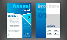 Blue brochure, booklet, book cover design templates collection. Vector illustration. Stock Photos