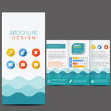 Blue brochure template. Whit flat icons Royalty Free Stock Images